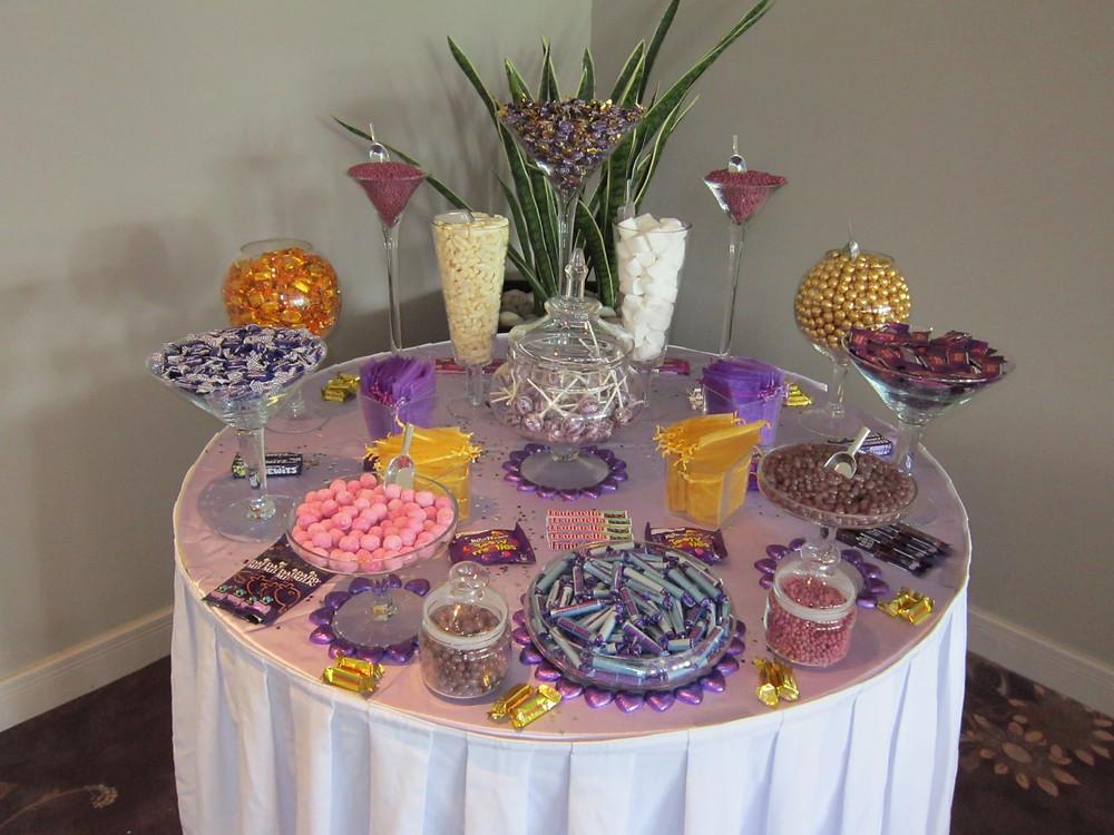 gold purple sweet table