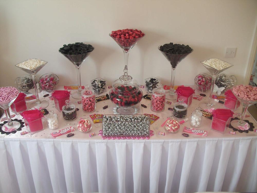 pink black white sweet table