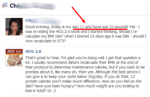 HCG diet 2.0 uses BMR calculation to answer questions.