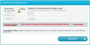 hcg diet consultation on schedulicity