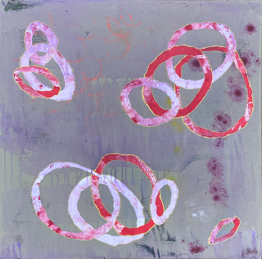 circles_2_30x30in_acrylic and paper on canvas_ritagpatel