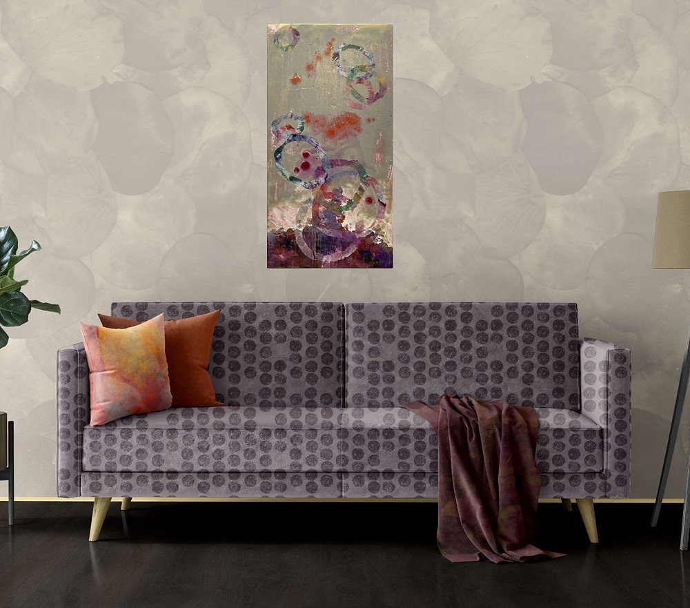 Calming home decor created by Rita Patel (wall art an patterns for sofa, pillows, blanket throw and wallpaper)