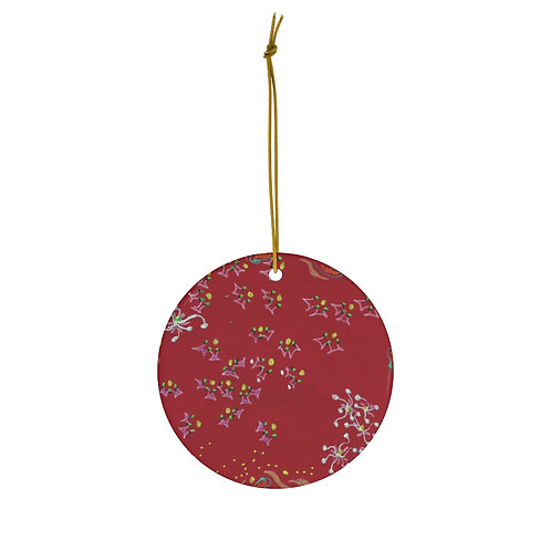 Red and White Snowflakes Ornament
