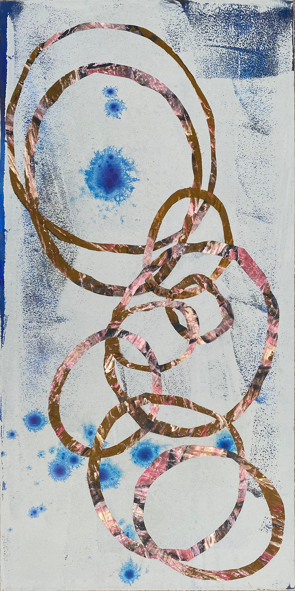 circles_3_24x48in_acrylic and fabric on canvas_ritagpatel