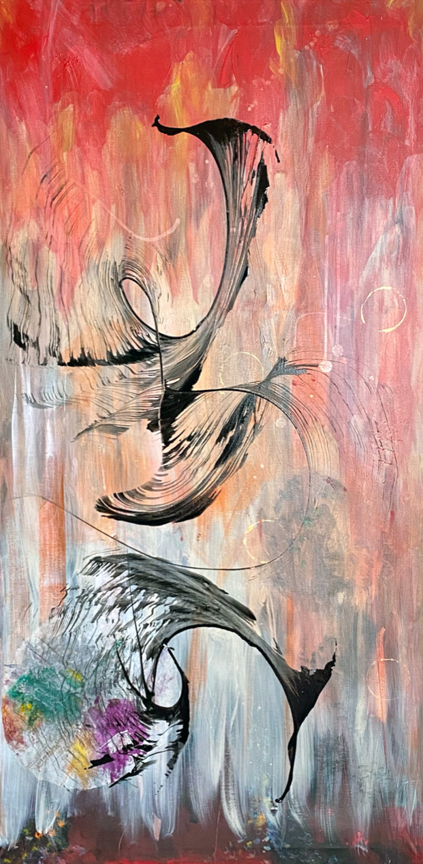 Acrylic, ink and paper on canvas.  Mixed Media Abstract Bird art from the In Flight Series by Rita G. Patel