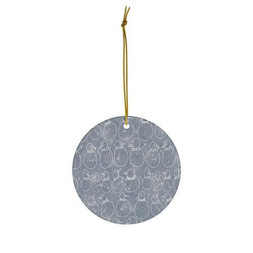 Blue Snowmen Ornament