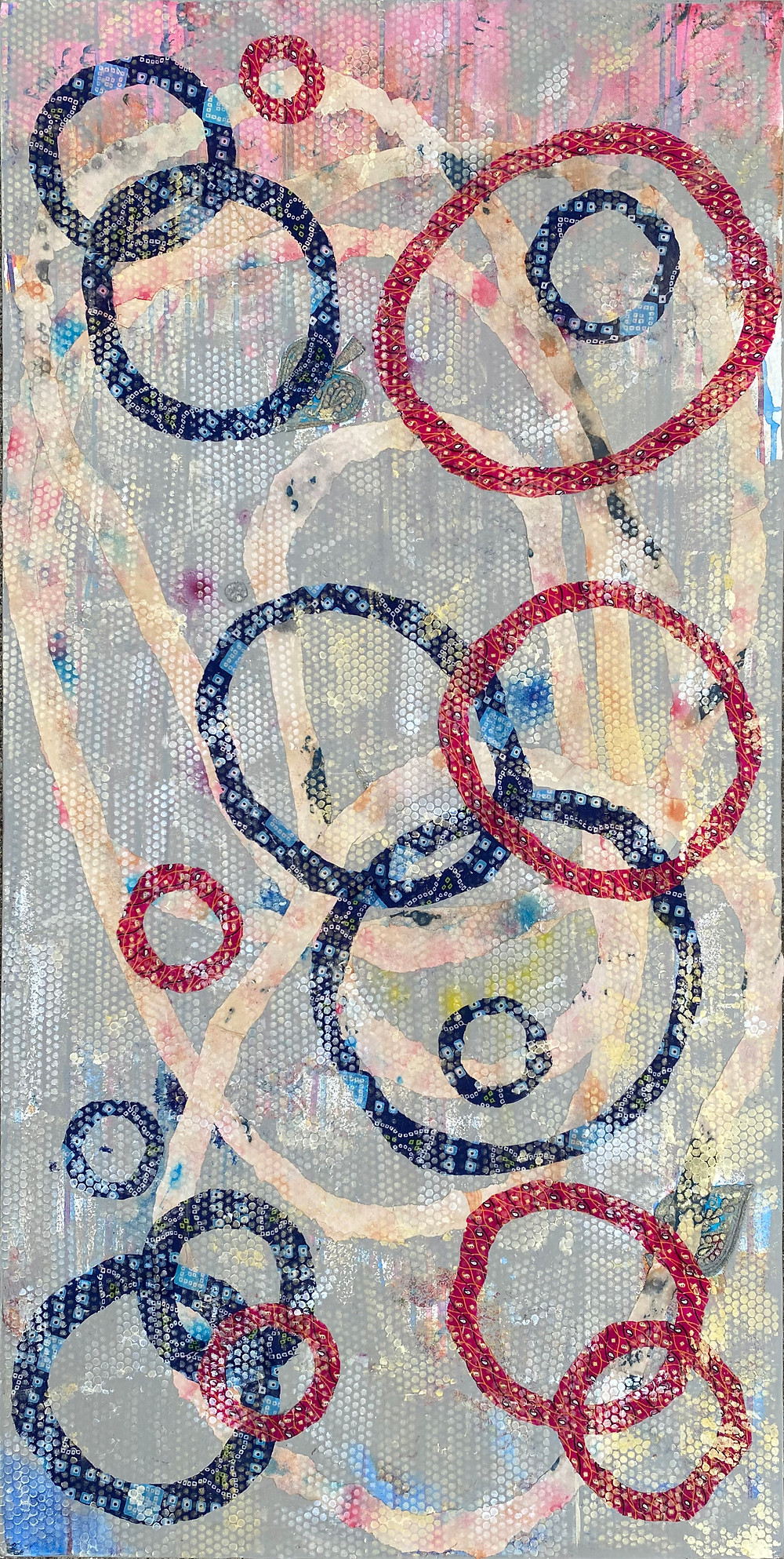 circles_8_24x48in_acrylic, paper and fabric on canvas_ritagpatel