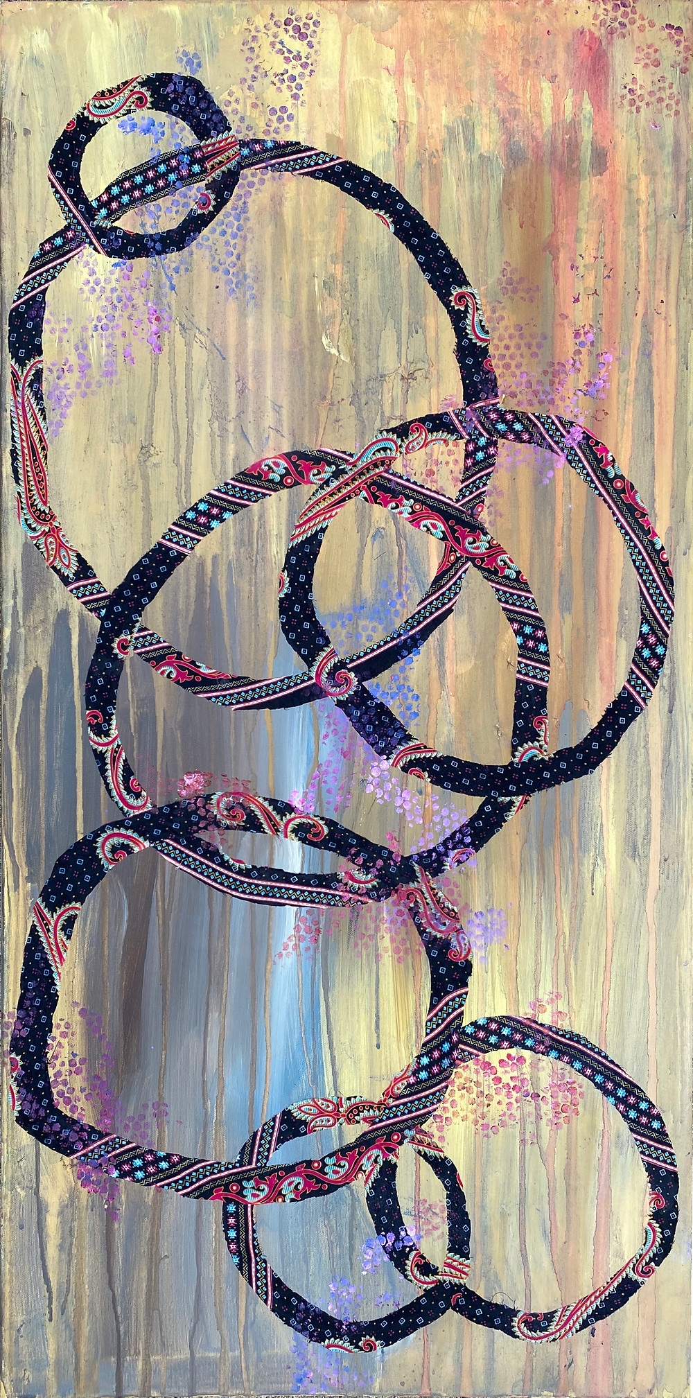 Mixed media abstract contemporary art by Rita G. Patel in soothing colors and shape. Saree fabric and paint on canvas. 24x48in