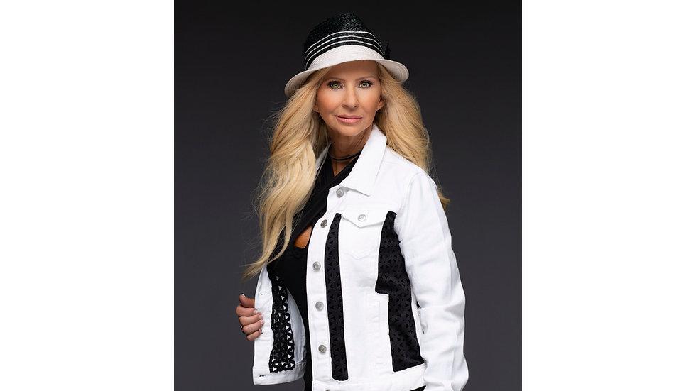 White denim jacket with black breathable fabric inserts