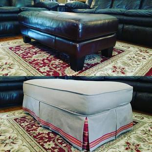 slipcovered ottoman