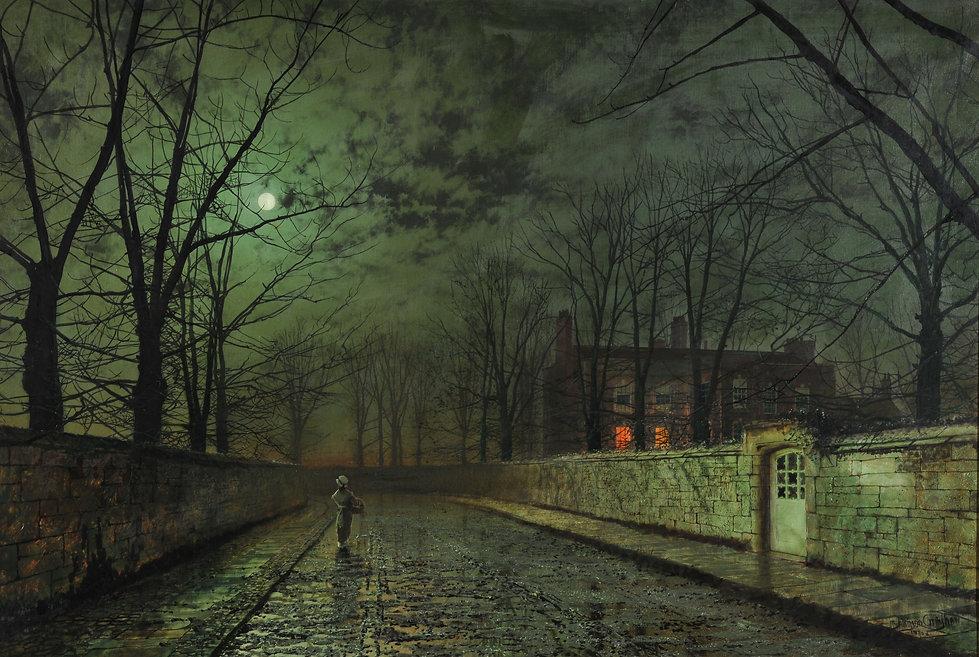 Victorian manor in moonlight