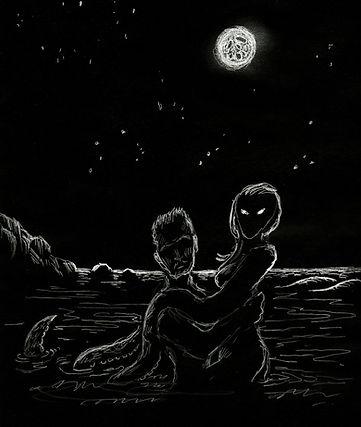 Man in woman swimming at night