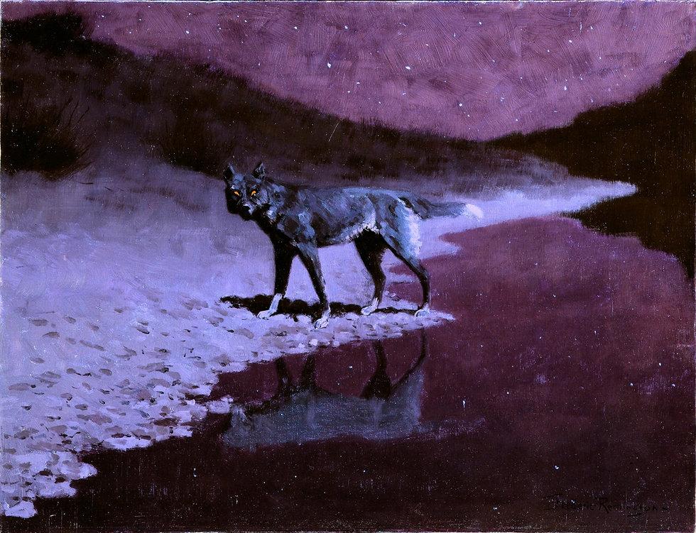 Frederic_Remington_-_Moonlight,_Wolf (1)