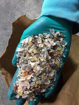 Recycling Acetat geschreddert