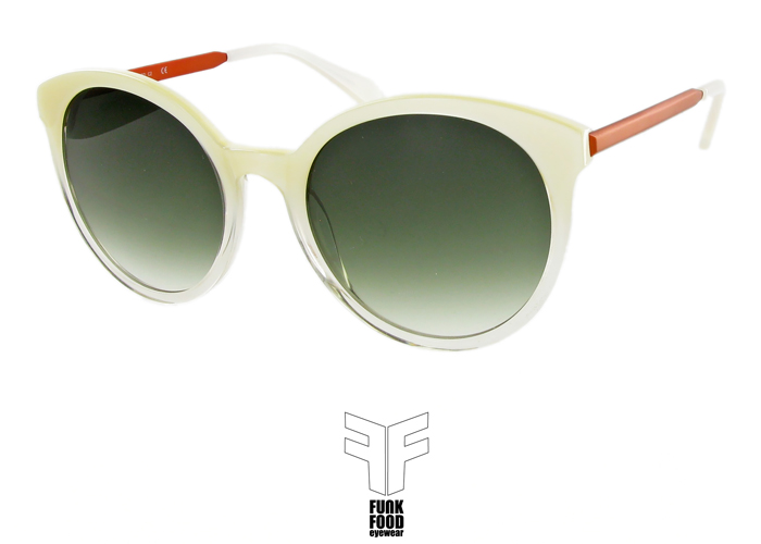 Mochito C2 pearl n clear with green gradient lenses
