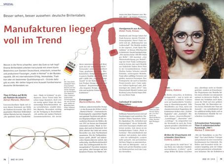 """DOZ Deutsche Optiker Zeitung über """"Made in Germany"""" - Brillenmanufakturen"""