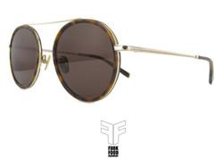 B52 C2 gold demi rim brown lenses
