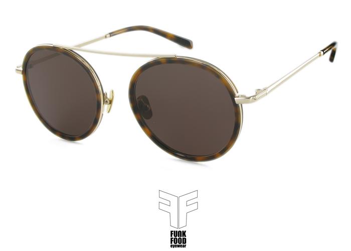 B52 C2 gold_demi rim brown lenses