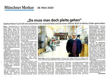 Münchner Merkur | Dieter Funk: Da muss man doch pleite gehen