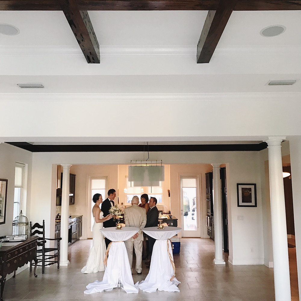A shot of the bride and groom before their ceremony began. This space was used for cocktail hour! (iPhone photo)