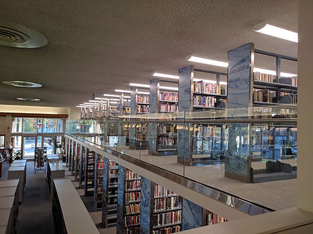 Interior picture of the Turner Free Library in Randolph, Massachusetts, showing the bookshelves on the lirbary's main floor