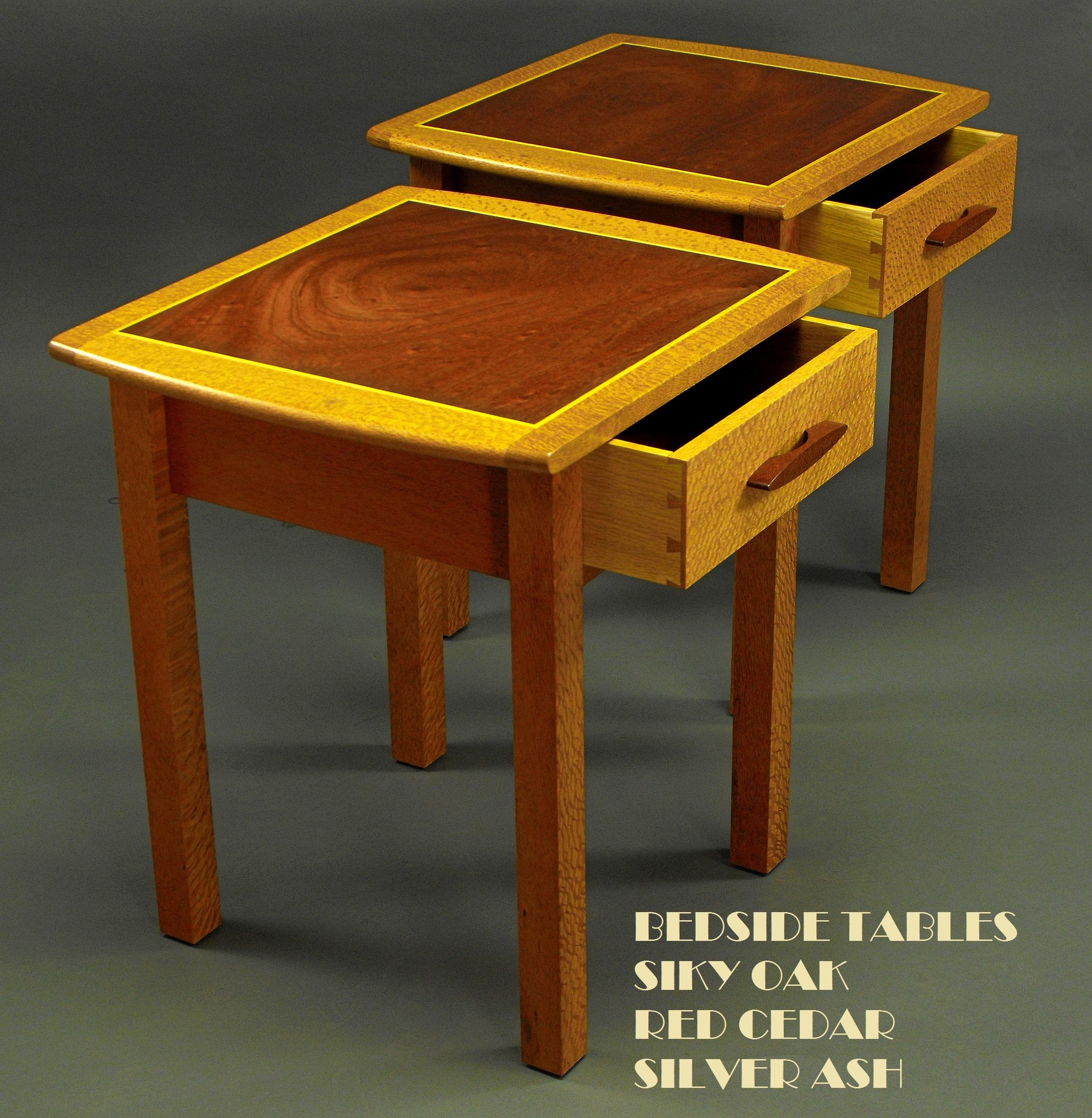Bedside Tables Old Red Cedar & Silky Oak 1d-1