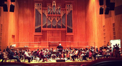 Queens College Orchestra rehearsing
