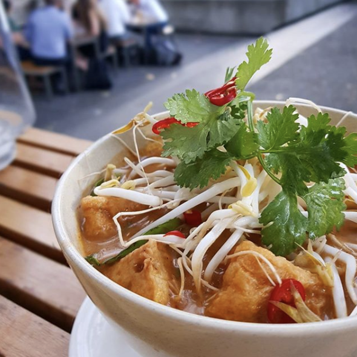 In the soup  @messy.veggies heroing our delicious vegan laksa. What a gorgeous shot.