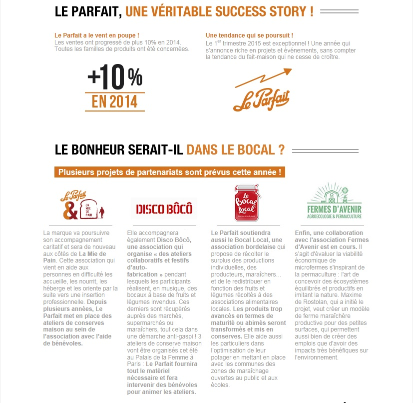 Newsletter Avril 2015 - Le Parfait