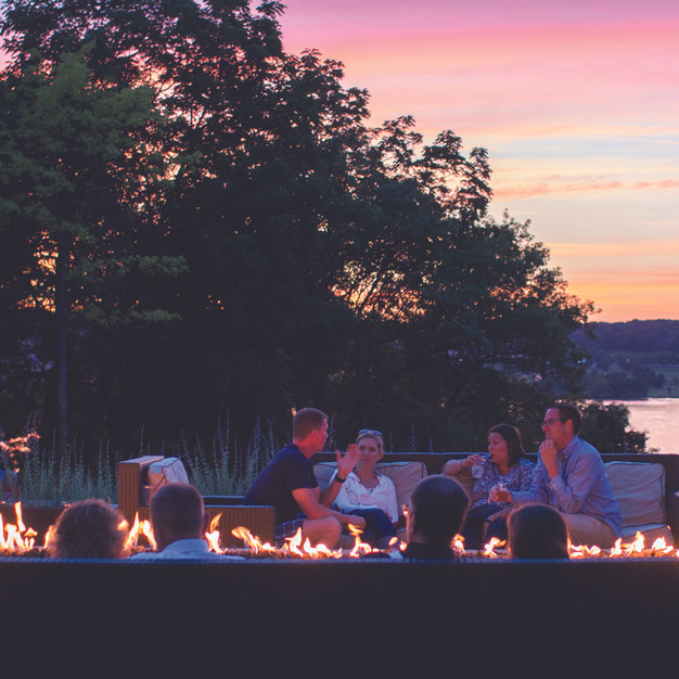 Ridge Hotel Fire Feature with Lake Como-