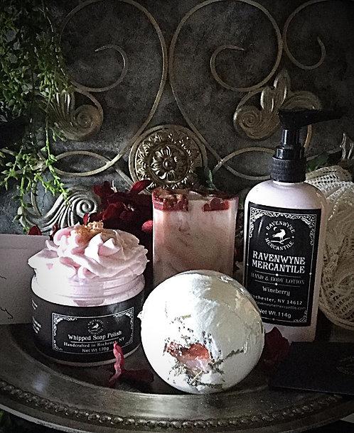 Luxury Gift Set-Bar Soap,  Soap Polish, Lotion, Ramie Puff, CBD Crystal Bomb