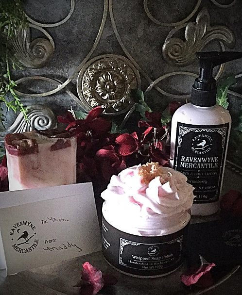 Gift Set-Bar Soap, Whipped Soap Polish, Lotion