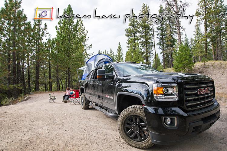GMC Sierra Camper-Truck by the beautiful Manzanita Lake, CA