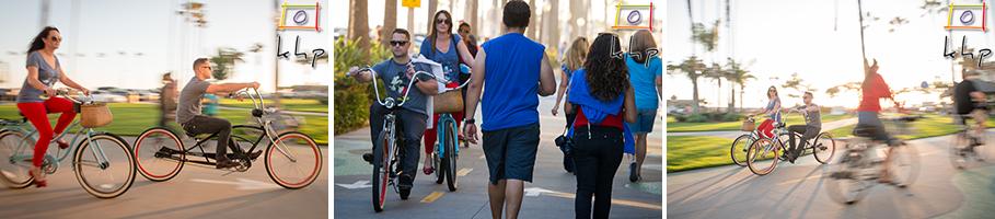 Engaged couple having a nice bike ride in Newport Beach