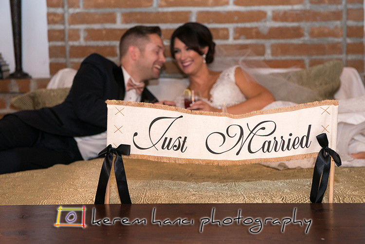Bride and groom after the ceremony at The Villa San Juan Capistrano