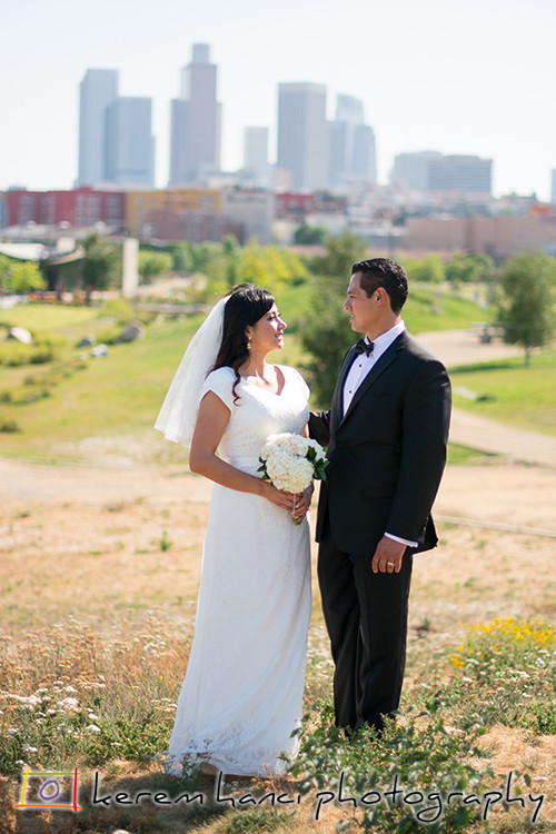 Wedding Portraits at Los Angeles Historic State Park in Chinatown