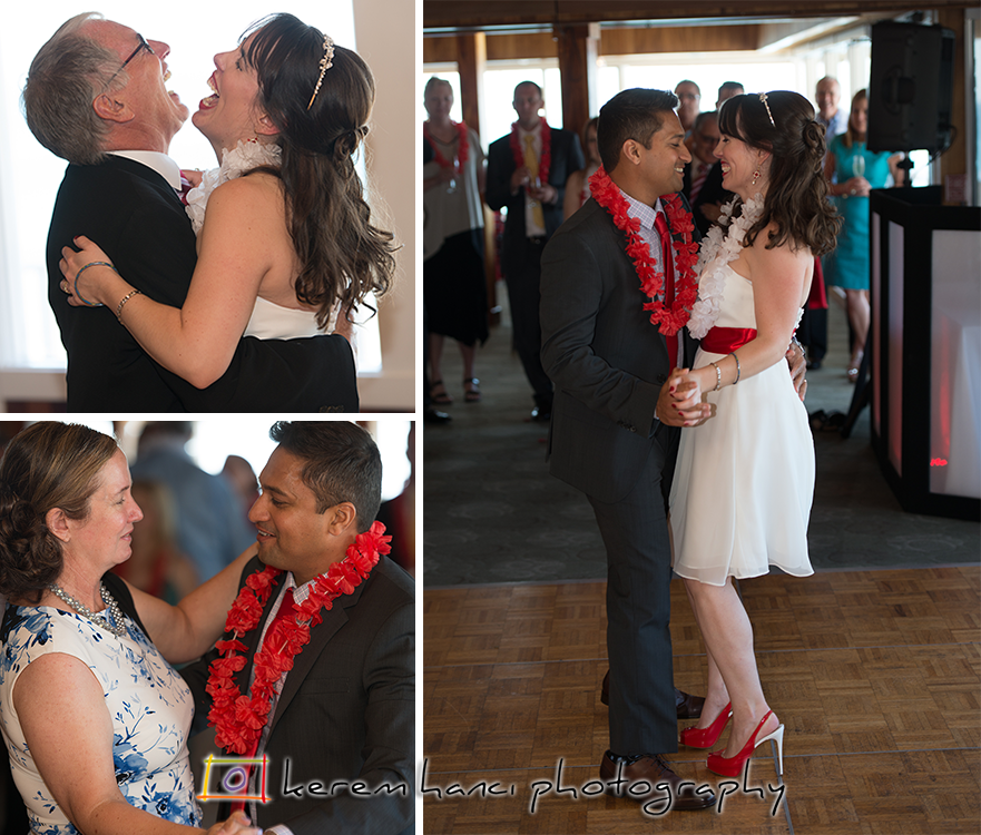 The couple's first dance and parents dances at Duke's Malibu
