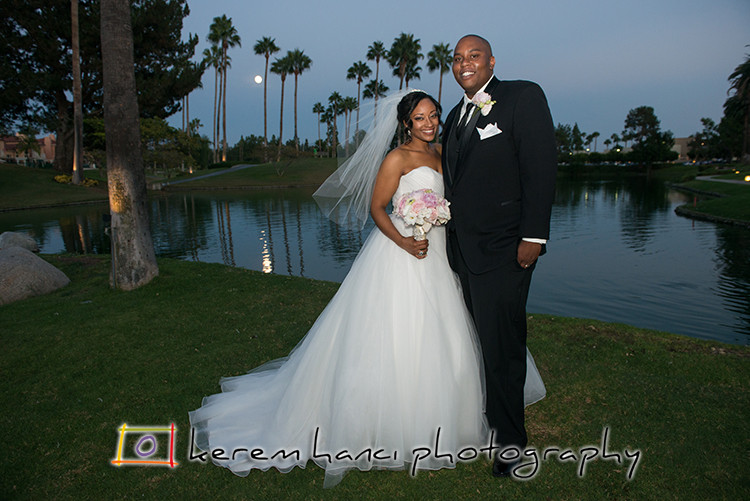 Full moon rising, the brand new husband and wife smiling at the Tustin Ranch Golf Club!