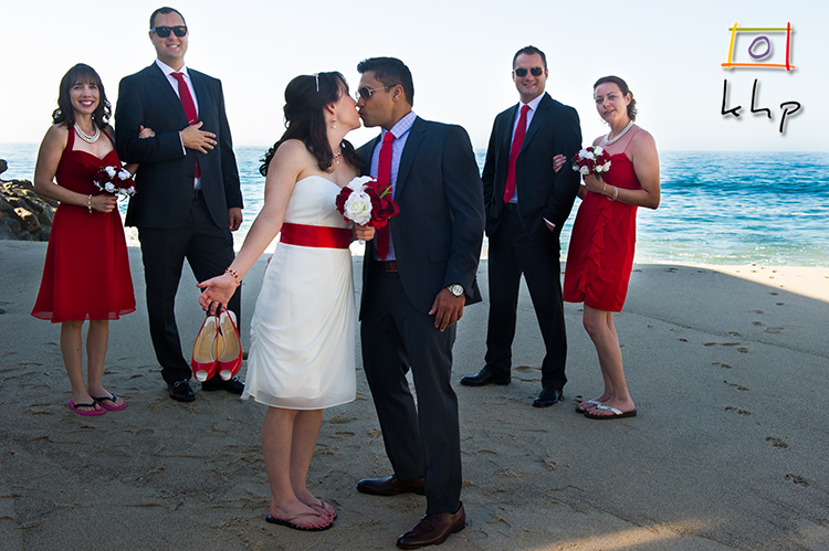 The wedding party on the private beach of Duke's in Malibu.