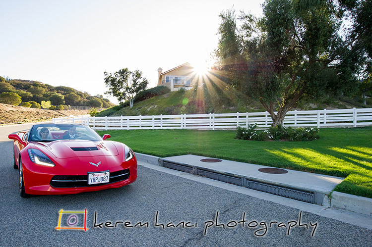Bride and Groom Portraits in their Corvette with contre-jour and sun star.