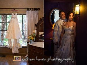 Vanessa and her wedding dress at The Mountain Mermaid in Topanga CA.