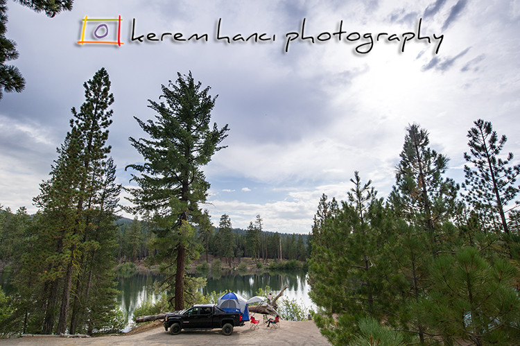 GMC Sierra Camper-Truck by the breath-taking Manzanita Lake, CA at Lassen Volcanic National Park