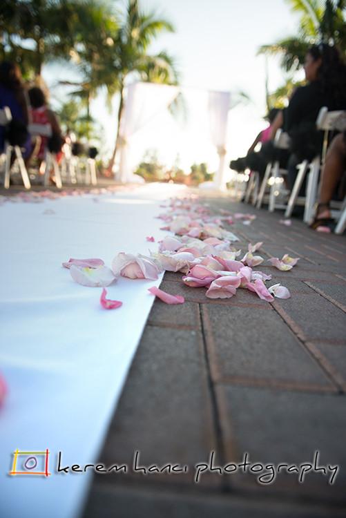 Rose petals on the aisle at Tustin Ranch Golf Club