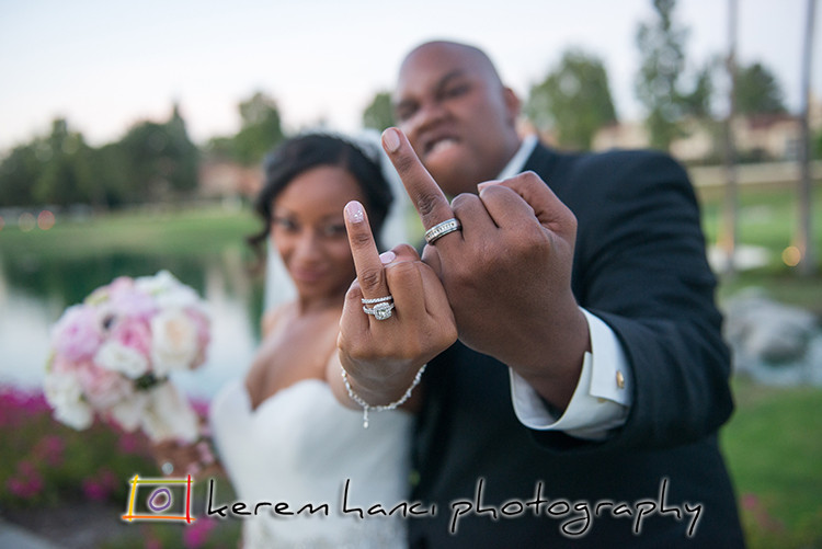 The fun couple showing off their wedding rings at the Tustin Ranch Golf Club!