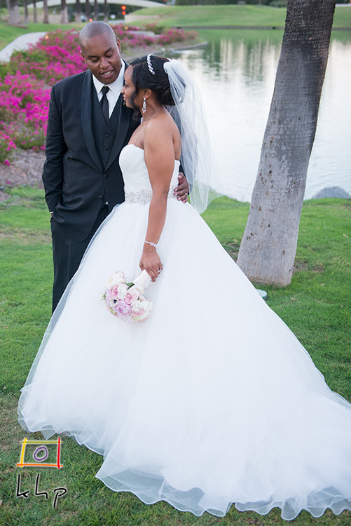 The newlyweds at the Tustin Ranch Golf Club