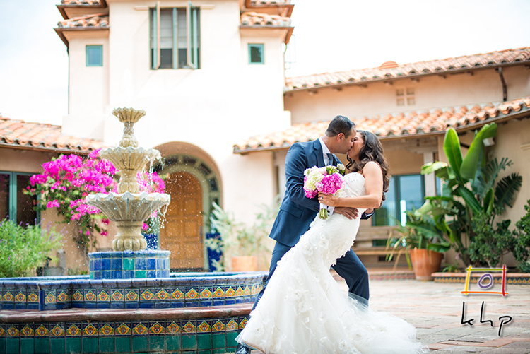 The kiss by the fountain at Rancho Chiquita in Malibu CA
