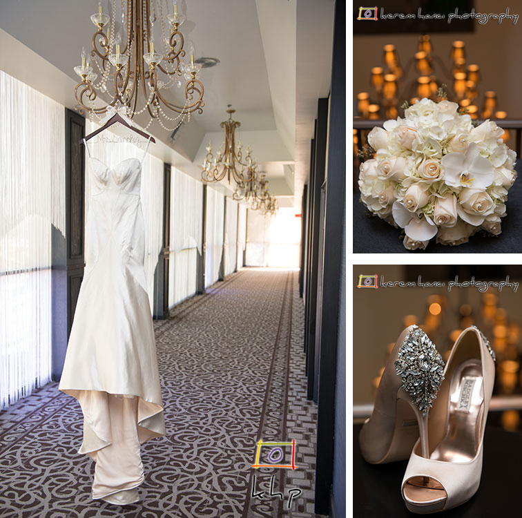 The Wedding Dress, the bride's bouquet and the bride's shoes at The Hills Hotel in Laguna Hills, CA