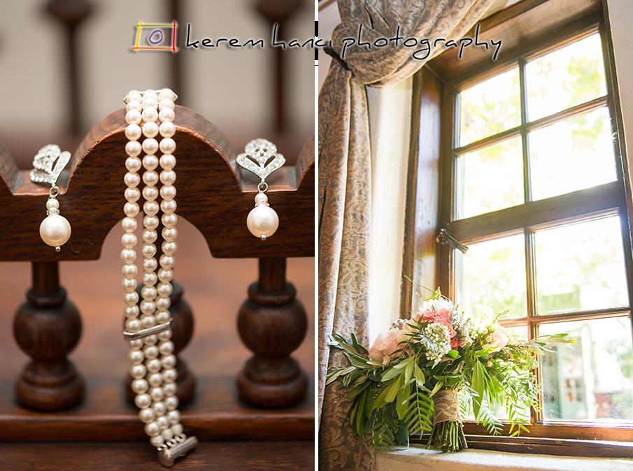 The bride's jewelry and bouquet at The Villa San Juan Capistrano