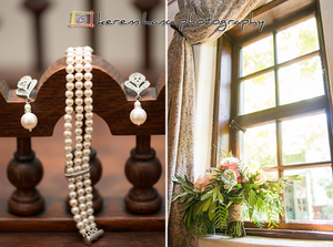 The bride's jewelry and bouquet at The Villa San Juan Capistrano