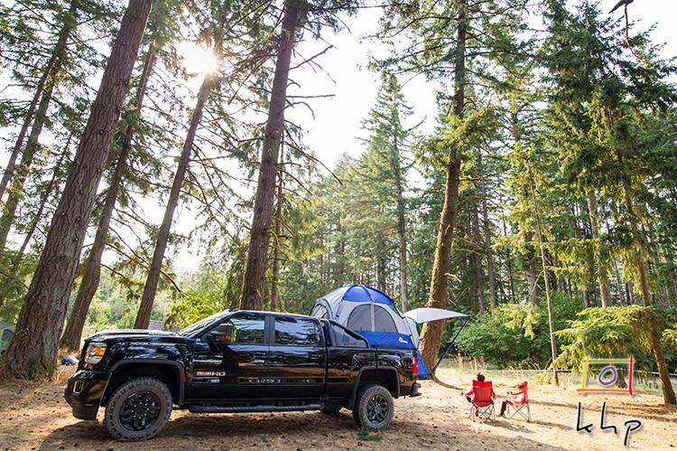 GMC Sierra Camper-Truck at Elfenwood Campground in Veneta, OR